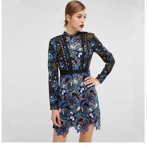 2019 New! Blue Lace Runway Party Dress